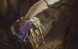 Size: 1920x1206 | Tagged: safe, artist:bra1neater, princess celestia, alicorn, classical unicorn, pony, ethereal mane, everfree forest, female, fine art emulation, hoers, leonine tail, mare, realistic anatomy, solo, spread wings, stairs, wings