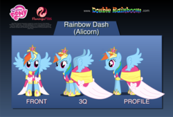 Size: 2200x1485 | Tagged: alicorn, alicornified, artist:woodyramesses17, clothes, coronation, coronation dress, crown, dress, flash puppet, jewelry, princess rainbow dash, race swap, rainbowcorn, rainbow dash, regalia, safe, shoes, show accurate