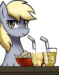 Size: 660x835 | Tagged: artist:johnjoseco, bowl, chips, derpy hooves, drink, female, food, glasses, ice cube, looking at you, mare, nachos, pegasus, pony, safe, simple background, solo, source needed, straw, table, transparent background, unamused, underp