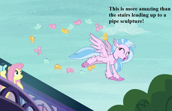 Size: 1008x648 | Tagged: butterfly, cropped, cute, dialogue, diastreamies, edit, edited screencap, fluttershy, marks for effort, safe, school of friendship, screencap, silverstream, that hippogriff sure does love indoor plumbing, that hippogriff sure does love stairs, tree