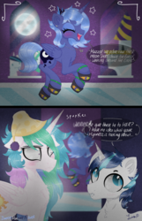 Size: 2250x3500 | Tagged: alicorn, artist:darkest-lunar-flower, canterlot castle, chest fluff, cute, eyes closed, female, happy, hat, looking away, male, mare, moon, moon shoes, open mouth, pony, princess celestia, princess luna, s1 luna, safe, shining armor, shrunken pupils, stallion, this will end in tears and/or a journey to the moon, tired, trotting, unicorn, woona, younger