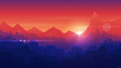 Size: 5760x3240   Tagged: safe, artist:simonk0, absurd resolution, canterlot, dawn, forest, lens flare, mountain, no pony, scenery, silhouette, sun, sunrise, wallpaper