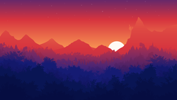 Size: 5760x3240   Tagged: safe, alternate version, artist:simonk0, absurd resolution, canterlot, dawn, forest, mountain, no pony, scenery, silhouette, sun, sunrise, wallpaper