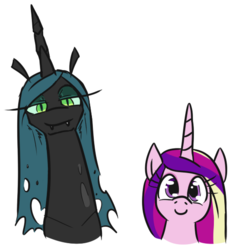 Size: 523x549 | Tagged: safe, artist:jargon scott, princess cadance, queen chrysalis, alicorn, changeling, changeling queen, pony, bust, c:, duo, fangs, female, lidded eyes, long neck, looking at you, mare, simple background, smiling, white background