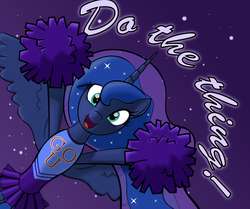 Size: 3000x2503   Tagged: safe, artist:trash anon, derpibooru exclusive, princess luna, alicorn, pony, alternate costumes, bipedal, cheering, cheerleader, clothes, cute, do the thing, exclamation point, female, happy, hoof hold, looking at you, lunabetes, misleading thumbnail, motivational, night, open mouth, pleated skirt, pom pom, positive ponies, skirt, sky, smiling, solo, spread wings, stars, talking to viewer, text, wholesome, wide eyes, wings