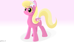 Size: 3840x2160 | Tagged: safe, artist:startledflowerpony, lily, lily valley, earth pony, pony, bow, cute, female, flower, flower in hair, gradient background, lilybetes, mare, solo, tail bow