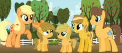 Size: 1992x868   Tagged: safe, artist:boringbases, artist:lottbases, artist:lyra25, artist:meimisuki, artist:nako-darkyo, artist:velvetsparkleyt, edit, applejack, caramel, oc, oc:apple pie, oc:apple rode, oc:caramel apple, earth pony, pony, apple tree, base used, bow, carajack, colt, family, female, filly, fraternal twins, hair bow, male, offspring, parent:applejack, parent:caramel, parents:carajack, shipping, straight, tree