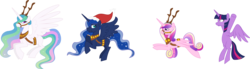 Size: 16377x4522 | Tagged: alicorn, alicorn tetrarchy, antlers, artist:lunarcombustion, bell, christmas, deer, female, holiday, princess cadance, princess celestia, princess luna, reindeer, reindeer antlers, reins, safe, simple background, sleigh bells, spread wings, .svg available, transparent background, twilight sparkle, twilight sparkle (alicorn), vector, wings