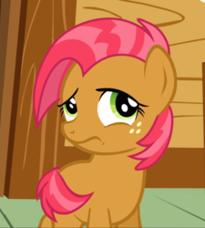 Size: 846x938 | Tagged: babs seed, covering, cropped, female, filly, freckles, frown, one bad apple, raised eyebrow, safe, screencap, shy, solo, tail covering, timid, wavy mouth