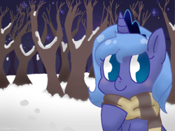 Size: 800x600 | Tagged: artist:otakunekojosei, bust, clothes, crown, cute, female, filly, jewelry, lunabetes, night, no pupils, pony, portrait, princess luna, regalia, safe, scarf, snow, solo, stars, tree, winter, woona, younger