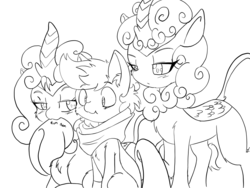 Size: 4032x3024 | Tagged: safe, artist:larrykitty, oc, oc only, oc:himmel, kirin, clothes, colt, confused, curious, kirin oc, lineart, male, monochrome, nom, scarf, scrunchy face