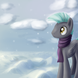 Size: 1200x1200 | Tagged: artist:sokolas, clothes, cloud, male, pegasus, pony, safe, scarf, snow, snowfall, solo, stallion, thunderbetes, thunderlane, winter