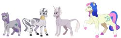 Size: 9478x2949 | Tagged: absurd res, artist:venommocity, bon bon, maud pie, pony, safe, simple background, size difference, sweetie drops, transparent background, zecora, zesty gourmand
