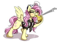 Size: 1032x774 | Tagged: safe, artist:lupiarts, fluttershy, pegasus, pony, baseball cap, blowing, blowing whistle, blushing, cap, coach, commission, cute, female, fwee, hat, mare, necktie, puffy cheeks, referee, shyabetes, simple background, transparent background, whistle, whistle necklace