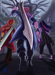 Size: 945x1294 | Tagged: safe, artist:animana21, starlight glimmer, sunset shimmer, twilight sparkle, equestria girls, book, boots, clothes, coat, counterparts, dante (devil may cry), devil may cry, devil may cry 5, fingerless gloves, gloves, hat, magical trio, nero (devil may cry), rebellion, red queen, shoes, sword, toque, twilight's counterparts, v (devil may cry), weapon