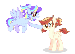 Size: 4264x3088 | Tagged: artist:alina-brony29, artist:iheyyasyfox, base used, boop, female, half-siblings, magical lesbian spawn, mare, oc, oc:gabriel apple, oc only, oc:vania, offspring, parent:applejack, parent:rainbow dash, parents:appledash, parents:twidash, parent:twilight sparkle, pegasus, pony, safe, simple background, transparent background