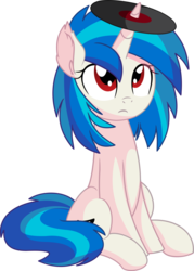 Size: 5799x8083 | Tagged: absurd res, artist:cyanlightning, dj pon-3, ear fluff, female, mare, pony, red eyes, safe, silly, silly pony, simple background, sitting, solo, .svg available, transparent background, unicorn, vector, vinyl, vinyl scratch, wrong eye color