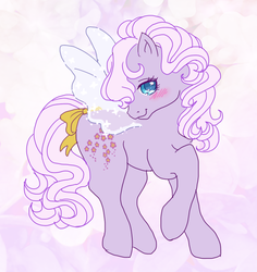 Size: 700x740 | Tagged: safe, artist:tsukuda, forget me not, flutter pony, bow, g1, looking at you, solo, tail bow