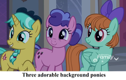 Size: 1444x912 | Tagged: berry blend, berry bliss, blissabetes, bow, captain obvious, caption, citrine spark, cropped, cute, discovery family logo, earth pony, edit, edited screencap, fire quacker, friendship student, mane bow, pegasus, peppermint adoralinks, peppermint goldylinks, quackerdorable, safe, school of friendship, school raze, screencap, text, unicorn