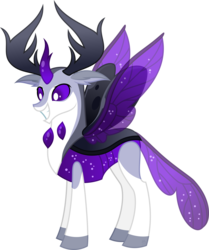 Size: 1600x1916 | Tagged: safe, artist:whitekitsuneko, oc, oc only, oc:loving marzipan, changedling, changeling, changeling king, grin, male, purple eyes, simple background, smiling, solo, spread wings, transparent background, wings