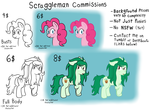 Size: 1500x1100 | Tagged: safe, artist:scraggleman, pinkie pie, wallflower blush, pony, bust, commission info, equestria girls ponified, lineart, ponified
