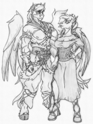 Size: 1500x2000 | Tagged: anthro, anthro oc, artist:siegfriednox, breasts, cleavage, clothes, cloven hooves, dagger, dress, female, male, mare, monochrome, oc, oc only, oc:peppercorn, oc:umami stale, oc x oc, partial nudity, pegasus, safe, shipping, stallion, tattoo, topless, traditional art, weapon, wings