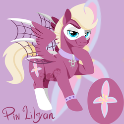 Size: 1000x1000   Tagged: artist needed, source needed, safe, oc, oc:pin lilyon, pegasus, pony, cutie mark, male, raised hoof, smiling, smirk, solo, spread wings, stallion, watermark, wings