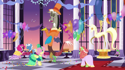 Size: 1920x1080 | Tagged: clothes, discord, dress, fluttershy, funny background event, gala dress, grand galloping gala, implied shipping, make new friends but keep discord, pinkie pie, pokey pierce, safe, screencap, shrug, spike, tree hugger