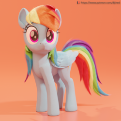 Size: 2048x2048 | Tagged: 3d, 3d model, artist:therealdjthed, blender, cute, cycles, cycles render, dashabetes, female, mare, patreon, patreon logo, pegasus, pony, rainbow dash, safe, solo