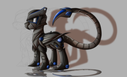 Size: 2800x1700 | Tagged: safe, artist:elmutanto, oc, oc only, oc:arkangel, pony, fallout equestria, fanfic:fallout equestria: broken oaths, armor, gray background, simple background, terminator