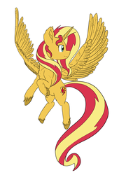 Size: 1000x1318 | Tagged: alicorn, alicornified, artist:alloco, female, flying, large wings, mare, pony, race swap, safe, shimmercorn, simple background, solo, sunset shimmer, unshorn fetlocks, white background, wings