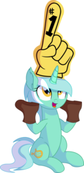 Size: 4767x9731 | Tagged: absurd res, artist:cyanlightning, boots, ear fluff, female, foam finger, hand, lyra heartstrings, mare, open mouth, pony, safe, shoes, silly, silly pony, simple background, sitting, solo, .svg available, that pony sure does love hands, transparent background, unicorn, vector