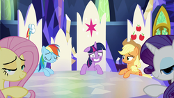 Size: 1920x1080 | Tagged: alicorn, applejack, cutie map, earth pony, faic, fluttershy, friendship throne, looking at you, mid-blink screencap, out of context, party pooped, pegasus, pony, rainbow dash, rarity, safe, screencap, throne, throne room, twilight sparkle, twilight sparkle (alicorn), unicorn