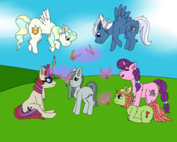 Size: 2738x2190 | Tagged: alternate mane six, alternate universe, artist:tinktink-yt, elements of harmony, marble pie, moondancer, night glider, pony, safe, sugar belle, tree hugger, vapor trail