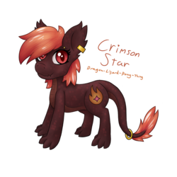 Size: 1024x1024 | Tagged: artist:vulpthehorsedog, dracony, hybrid, oc, oc:crimson star, safe, simple background, solo, transparent background