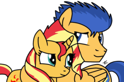 Size: 600x399 | Tagged: artist:tobizgirl, female, flashimmer, flash sentry, male, pony, safe, shipping, straight, sunset shimmer