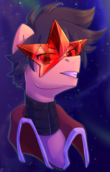 Size: 1149x1800 | Tagged: artist:tigra0118, bust, looking at you, my little pony, ponified, pony, portrait, safe, simon, solo, space, tengen toppa gurren lagann