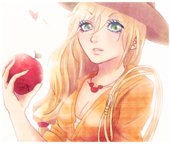 Size: 650x548 | Tagged: apple, applejack, artist:songoftheshoebox, clothes, cowboy hat, female, food, hat, human, humanized, lasso, obligatory apple, rope, safe, simple background, solo, stetson, white background