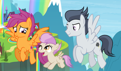 Size: 3380x1972 | Tagged: safe, artist:s-oujiisan, artist:shiibases, artist:velveagicsentryyt, edit, rumble, scootaloo, oc, oc:fries, pony, base used, female, filly, flying, offspring, older, parent:rumble, parent:scootaloo, parents:rumbloo, rainbow falls (location), rumbloo, scootaloo can fly, shipping, straight