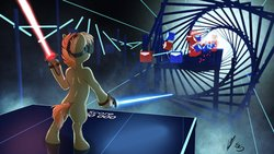 Size: 4096x2304 | Tagged: safe, artist:lupiarts, artist:snoopystallion, button mash, earth pony, pony, absurd resolution, beat saber, bipedal, collaboration, comic sins, controller, game, gameplay, jedi, lightsaber, male, numbers, score, sith, solo, star wars, virtual reality, weapon