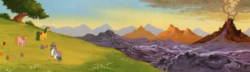 Size: 3103x895 | Tagged: safe, composite screencap, edit, edited screencap, screencap, gusty, magic star, shady, smooze, bushwoolie, earth pony, pony, unicorn, my little pony: the movie (g1), g1, panorama, scenery, smoozed, volcano, volcano of gloom