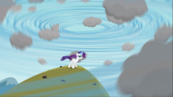 Size: 1668x938 | Tagged: cloud, female, glowing horn, magic, magical mystery cure, magic aura, mare, pony, rarity, safe, screencap, solo, struggling, unicorn, weather control, weather magic, what my cutie mark is telling me, whirlwind, wind, windswept mane, windswept tail