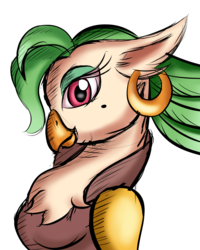 Size: 2400x3000 | Tagged: anthro, artist:qbellas, beauty mark, bust, captain celaeno, ear piercing, earring, female, hatless, jewelry, missing accessory, my little pony: the movie, piercing, pirate, profile, safe, simple background, solo, white background