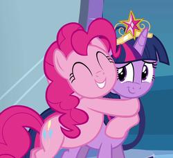 Size: 1180x1077 | Tagged: safe, screencap, pinkie pie, twilight sparkle, alicorn, equestria girls, equestria girls (movie), big crown thingy, cropped, crown, cute, diapinkes, element of magic, hug, jewelry, regalia, smiling, twiabetes, twilight sparkle (alicorn)