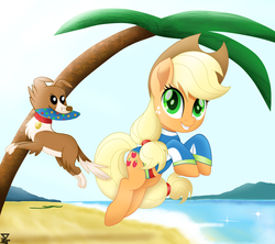 Size: 6200x5500 | Tagged: applejack, artist:theretroart88, beach, clothes, equestria girls outfit, equestria girls ponified, frisbee, movie accurate, my little pony: the movie, palm tree, ponified, pony, safe, swimsuit, tree, winona
