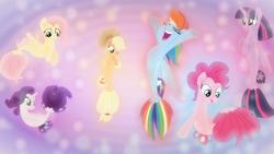 Size: 1600x900   Tagged: safe, artist:drakizora, artist:sailortrekkie92, applejack, fluttershy, pinkie pie, rainbow dash, rarity, twilight sparkle, alicorn, seapony (g4), my little pony: the movie, female, fin wings, hooves up, mane six, sea ponies, seaponified, seapony applejack, seapony fluttershy, seapony pinkie pie, seapony rainbow dash, seapony rarity, seapony twilight, species swap, twilight sparkle (alicorn), wallpaper, wings