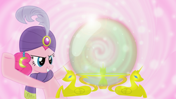 Size: 1600x900 | Tagged: safe, artist:afkrobot, artist:mahaugher, artist:sailortrekkie92, pinkie pie, earth pony, pony, crystal ball, female, madame pinkie, mare, mystical orb of fate's destiny, pink background, simple background, solo, wallpaper