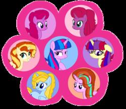 Size: 1251x1080 | Tagged: safe, artist:徐詩珮, oc, oc:betty pop, oc:blaze shimmer, oc:blue magic, oc:ehenk berrytwist, oc:starmoon ceatia, oc:sunny glimmer, oc:vesty sparkle, alicorn, pony, unicorn, my little pony: the movie, alicorn oc, female, friendship, glasses, magical lesbian spawn, mare, next generation, offspring, parent:comet tail, parent:fire streak, parent:flash sentry, parent:glitter drops, parent:moondancer, parent:prince blueblood, parent:starlight glimmer, parent:sunburst, parent:sunset shimmer, parent:tempest shadow, parent:trixie, parent:twilight sparkle, parents:bluetrix, parents:cometdancer, parents:flashlight, parents:glittershadow, parents:starburst, parents:sunsetstreak, simple background, transparent background
