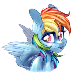 Size: 2371x2407 | Tagged: safe, artist:meowcephei, rainbow dash, pegasus, pony, bust, ear fluff, female, looking back, mare, open mouth, portrait, simple background, sketch, smiling, solo, spread wings, white background, wings
