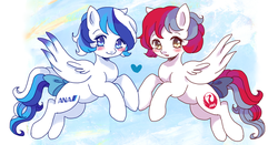 Size: 900x473 | Tagged: safe, artist:tsukuda, pegasus, pony, abstract background, airline, airlines, all nippon airways, ana, blushing, bow, digital art, female, flying, heart, jal, japan airlines, mare, open mouth, ponified, spread wings, tail bow, wings